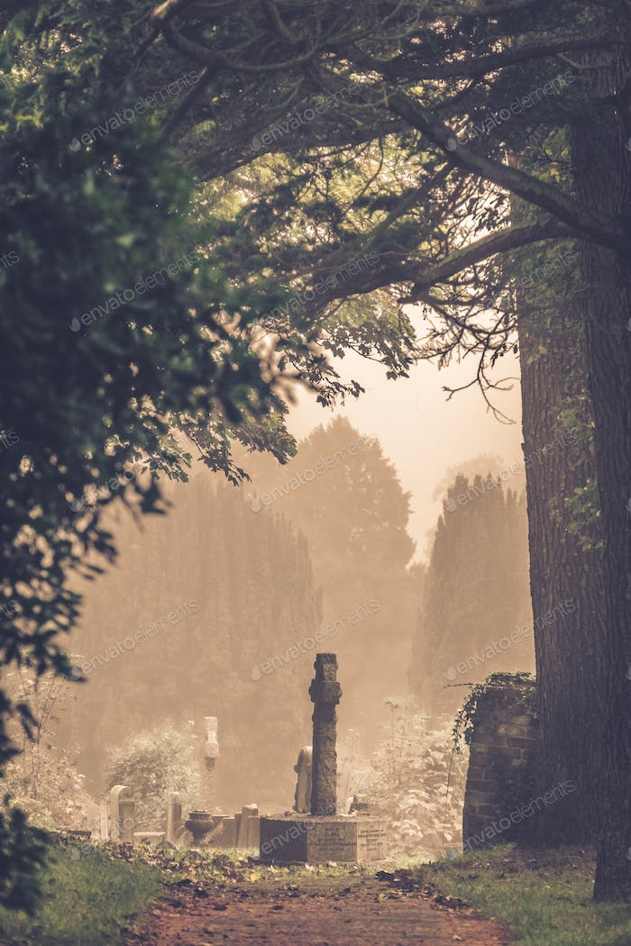 Old graves in a cemetery in England