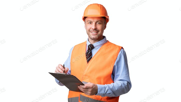 Professional Builder Worker Standing Holding Folder On White Studio Background