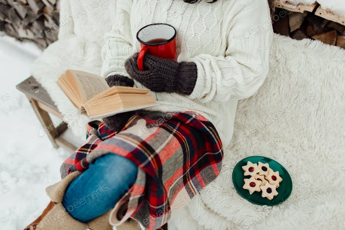 Woman relaxing on a winter day