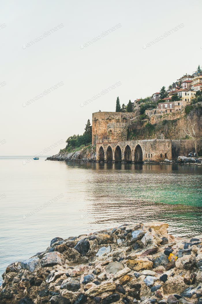 Alanya medieval fortress, wall, shipyard and Mediterranean sea, Turkey