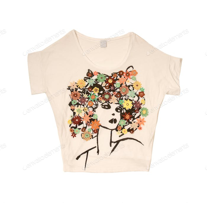 Embroidered flowers afro girl t-shirt
