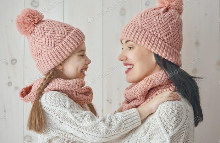 Retrato de inverno da família