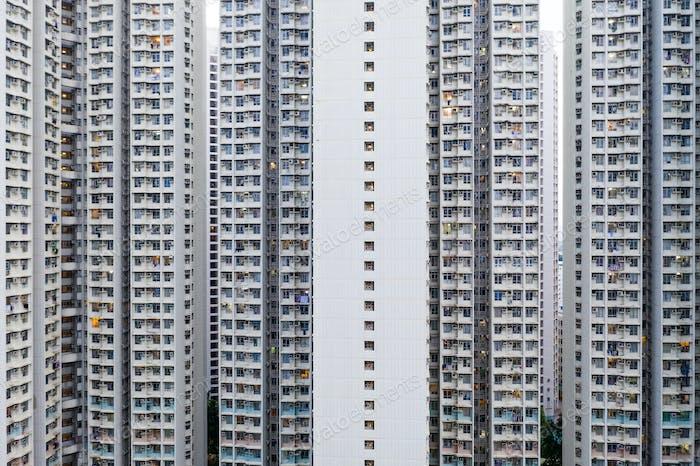 Apartment building facade in Hong Kong