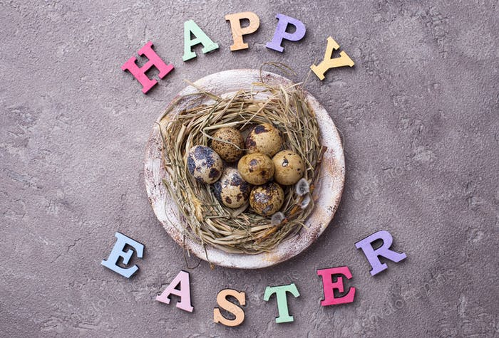 Happy Easter text from colorful letters