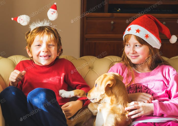Kids in santa caps playing with cute puppy