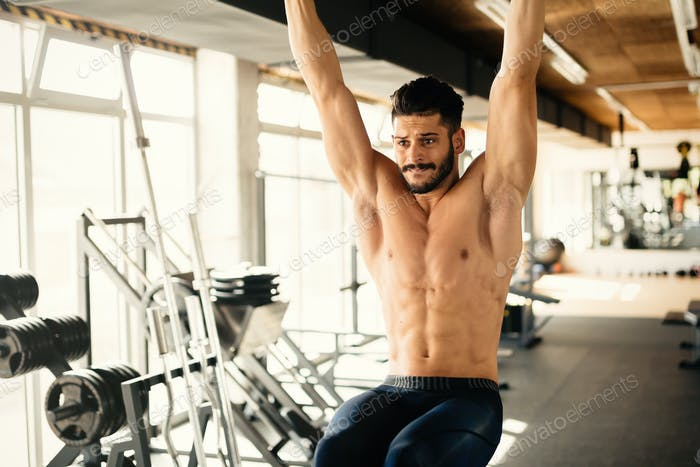 Abs workout by handsome man