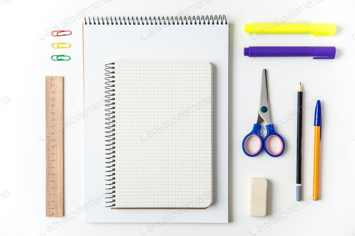 Top view of school and office supplies set