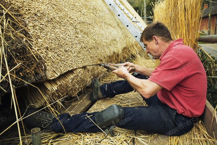 Thatcher trimming straw of a thatched roof with shears.