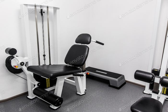 Modern gym weight training equipment for exercises and rehab