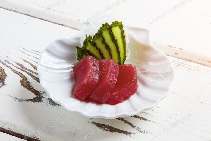 Slices of cucumber and meat