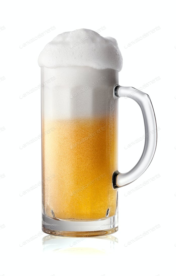 Narrow glass of beer with foam