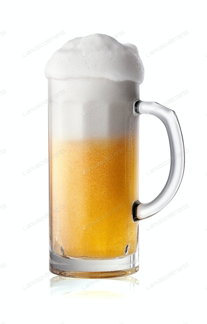 Schmales Glas Bier mit Schaum