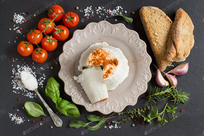 Italian ricotta cheese, homemade bread, vegetables and herbs