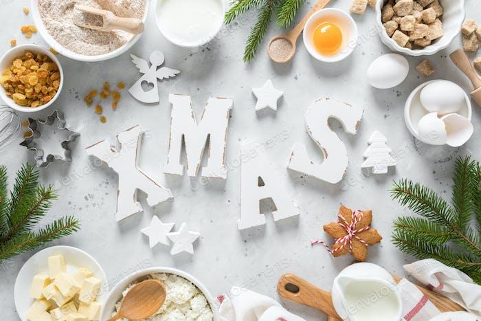 Christmas, Noel, X-mas, Noel, New Year or Xmas baking culinary background, greeting card
