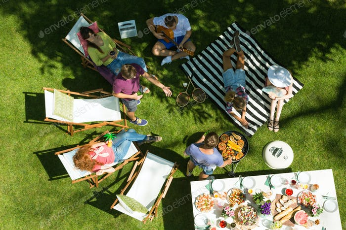 Garden party with grilled food