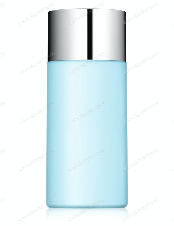 close up of a blue bottle on white background