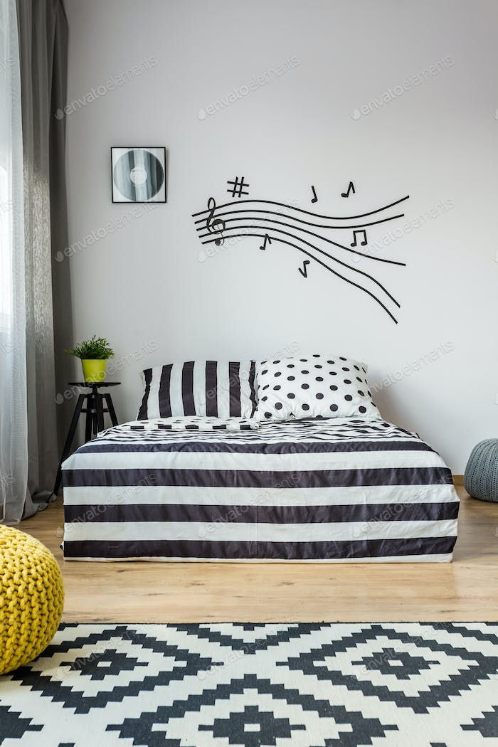 Music note stave in scandi bedroom