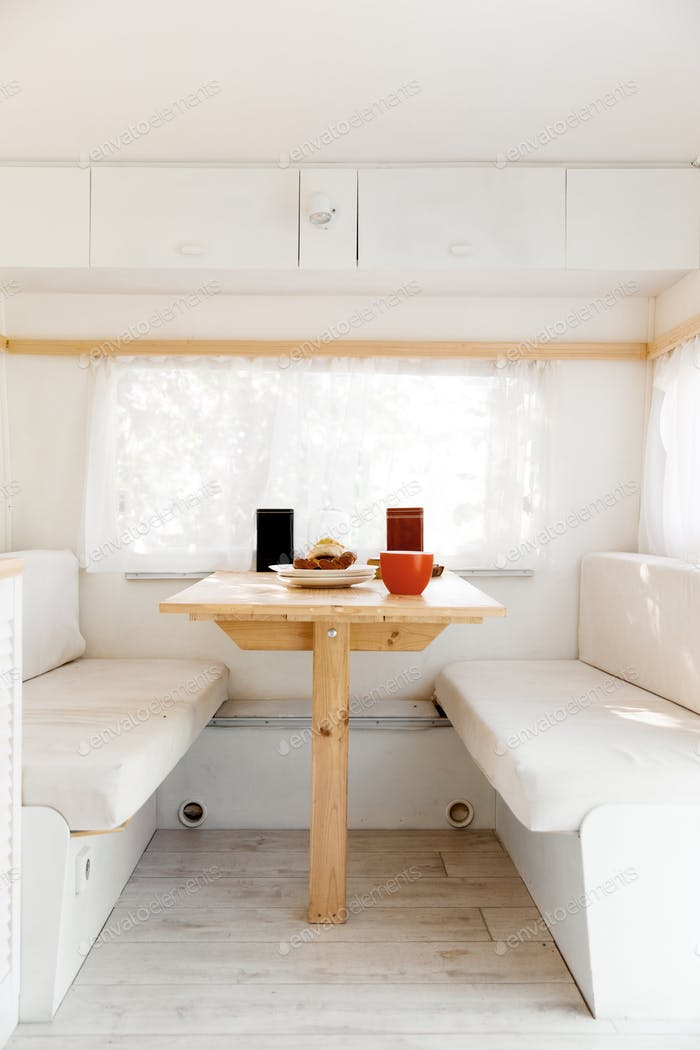 Camping in a trailer, rv table, nobody