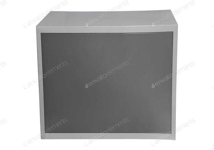 closed metal safe isolated on white