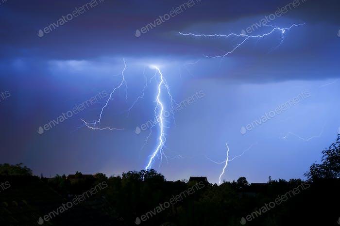 Number of Lightnings in Dark, Stormy Night, Summer Storm