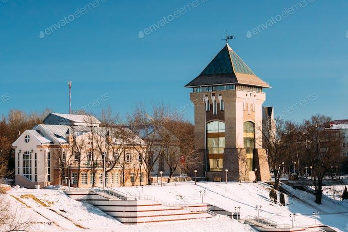 Vitebsk, Belarus. Restored Medieval Tower Duhovskoi Kruglik In S