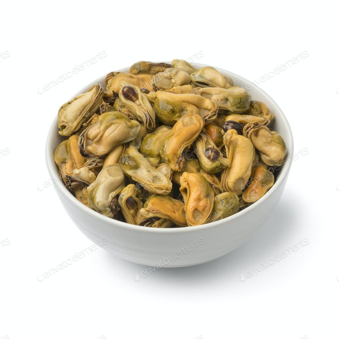 Bowl with mussels in vinegar