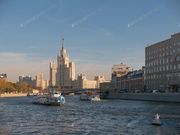 Stalin era tower building skyscraper on Kotelnicheskaya embankment