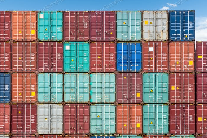 shipping containers closeup