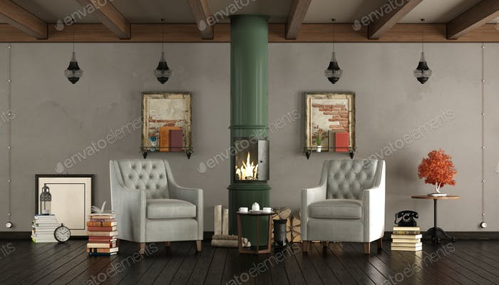 Vintage living room with wooden stove