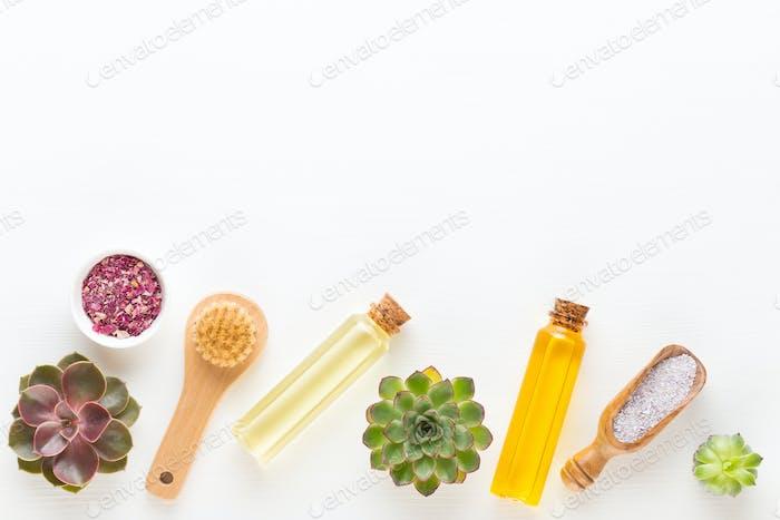 Bio herbal green cosmetic arrangement, sea salt and handmade cosmetic.