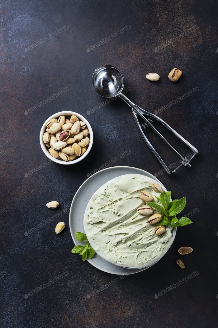 Homemade ice cream with pistachio and mint