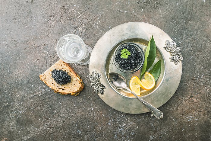 Black caviar on ice