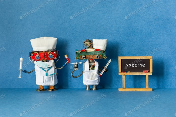 Medic robots and Black chalkboard with text Vaccine