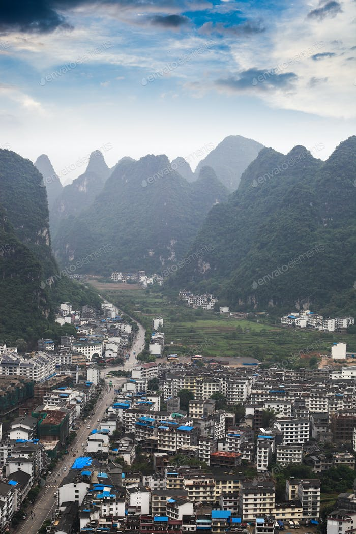 yangshuo county with karst landform