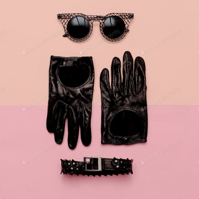 Clothes top view Women's Accessories Gloves, sunglasses, choker.