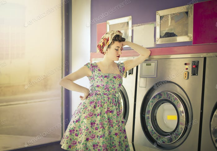 Woman at the laundromat