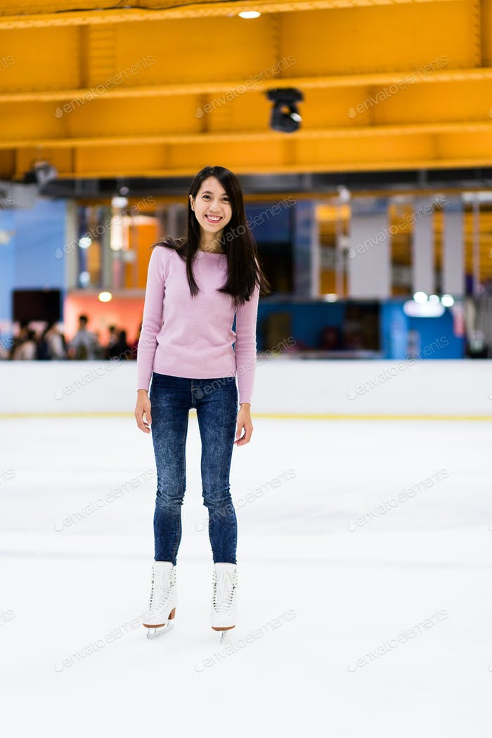 Young Woman on skating rink