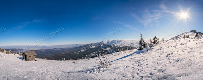 Panoramic view of a Karkonosze mountains