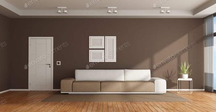 Brown and white lounge