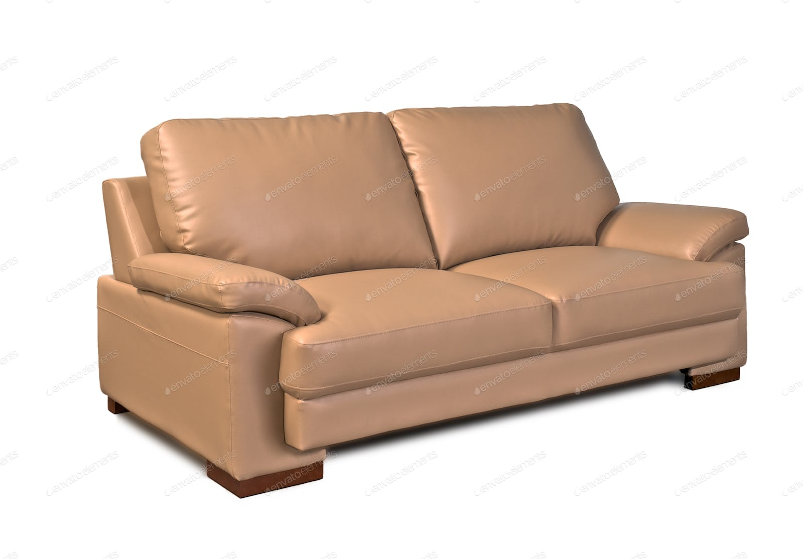Light Brown Leather Sofa Two Seater Facing Right Photo By Praethip