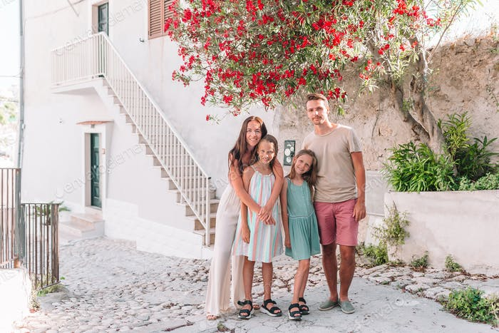 Family of four on vacation in Europe