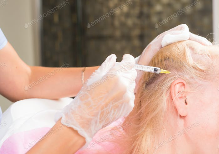 Anti hair loss injection in clinic