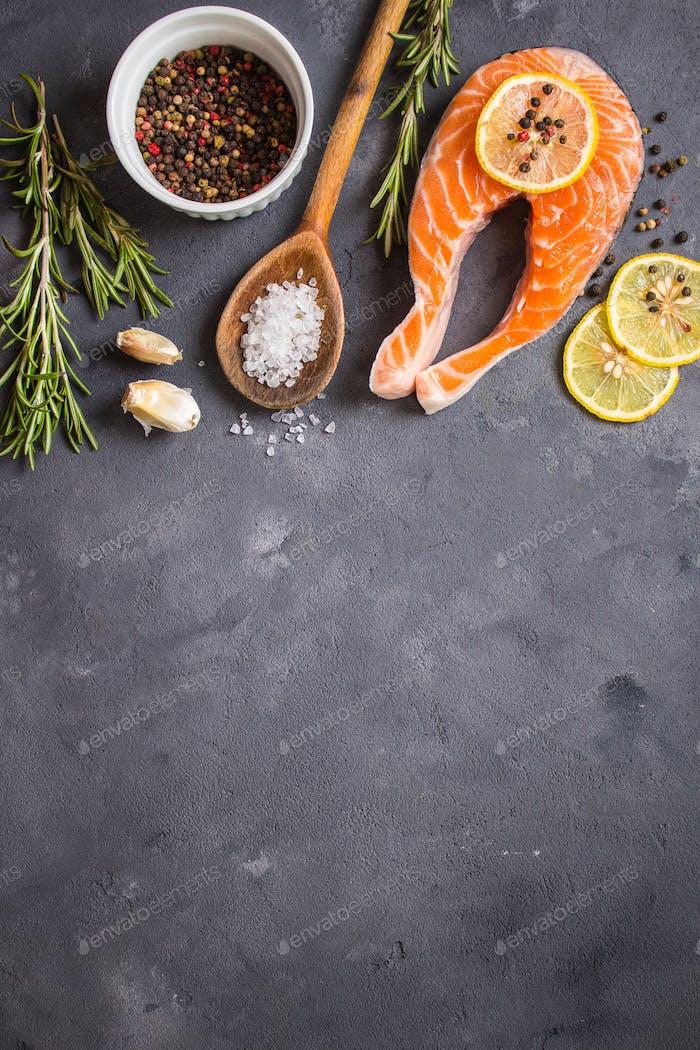 Raw salmon steak ready to cook