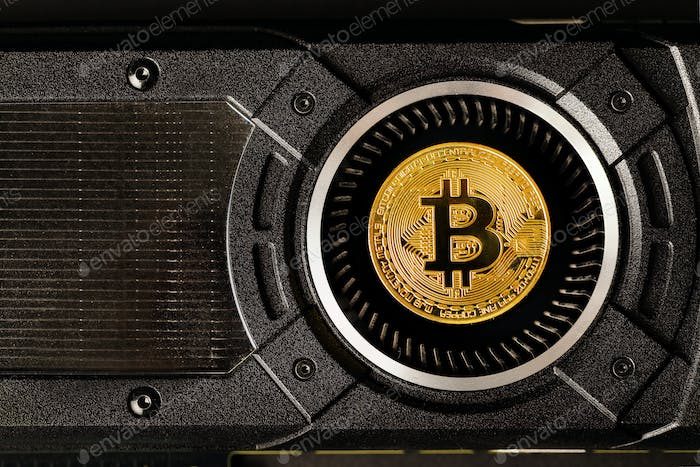 Gold bitcoin on crypto mining GPU computer hardware