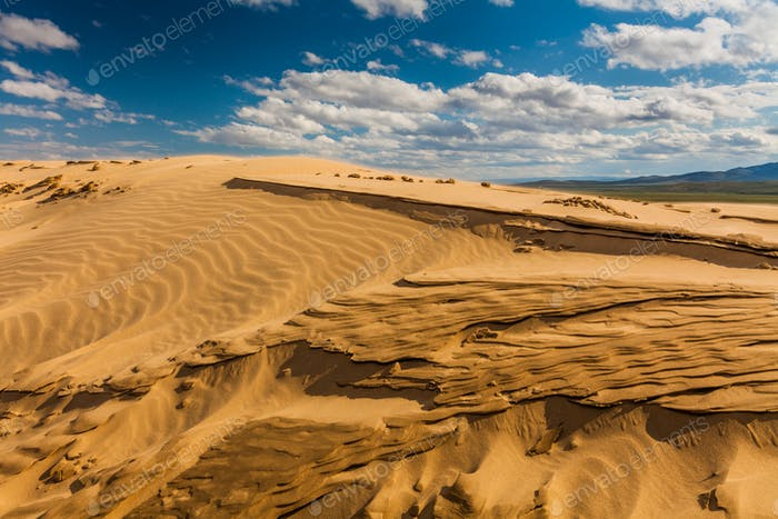 Beautiful desert landscape with sand dunes. Mongolia.