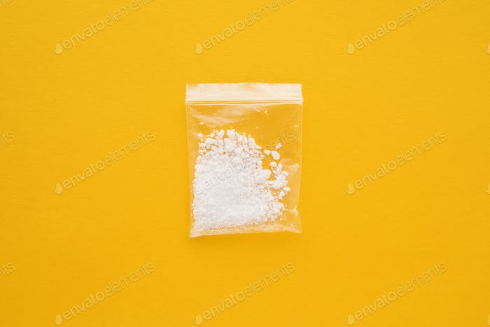 Cocaine drug in resealable bag