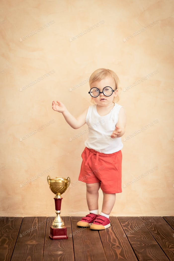Baby funny sportsman. Success and winner concept