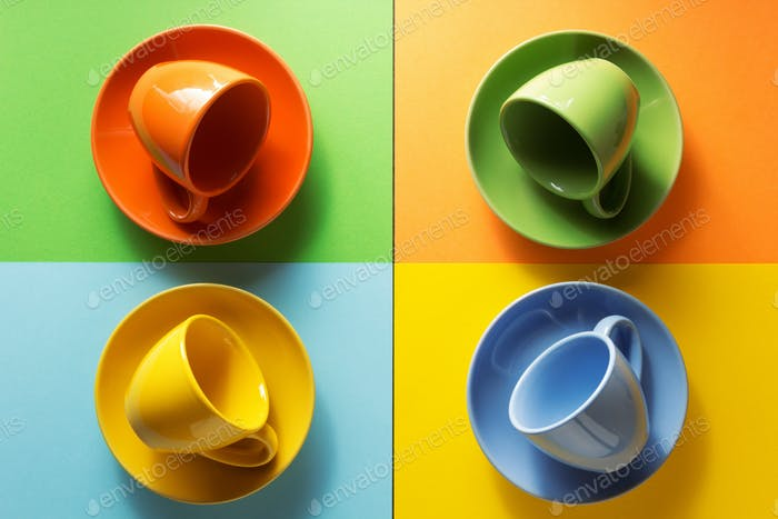 empty cup at colorful background