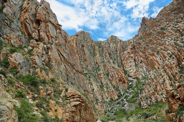 Majestic rocky redish mountains in Swartberg pass