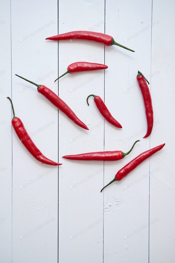 Red hot chili peppers pattern isolated on white